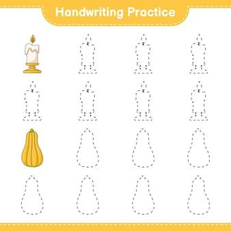 Prática de escrita à mão traçando linhas de vela e abóbora jogo educativo para crianças