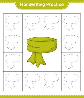 Prática de escrita à mão traçando linhas do cachecol folha de trabalho para impressão do jogo educativo para crianças