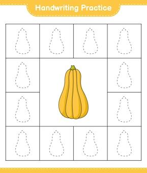 Prática de escrita à mão traçando linhas do jogo educativo para crianças butternut squash