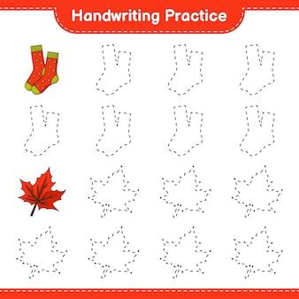 Prática de escrita à mão traçando linhas do jogo educativo para crianças socks e maple leaf