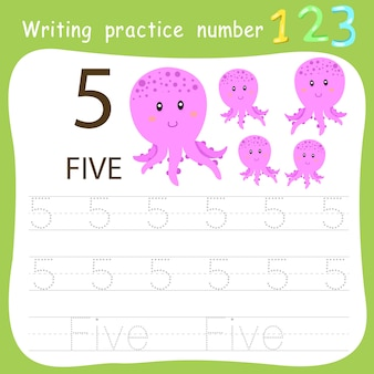 Prática de escrita da planilha número cinco
