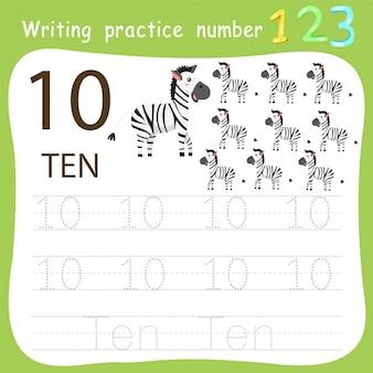 Prática de escrita da planilha número dez