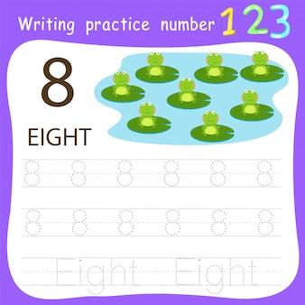 Prática de escrita de folha de número oito