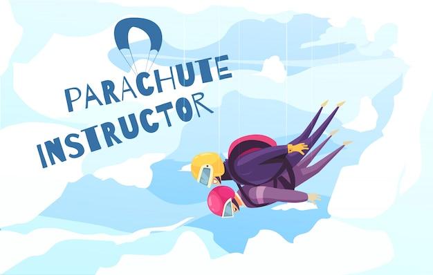 Prática de paraquedismo com publicidade abstrata plana do instrutor profissional com nuvens de salto de para-quedas em tandem