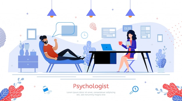 Prática de psicólogo vector plana promo banner