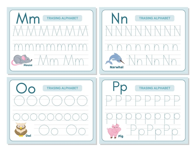 Prática de rastreamento de alfabeto letra m, n, n, o. planilha de prática de rastreamento. página de atividade de aprendizagem do alfabeto. modelo para impressão. planilha de prática de rastreamento em maiúsculas e minúsculas. aprendendo caligrafia em inglês