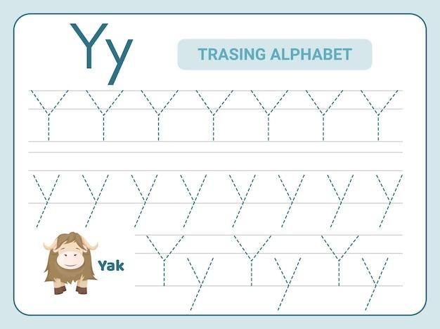 Prática de rastreamento de alfabeto para planilha de leter y