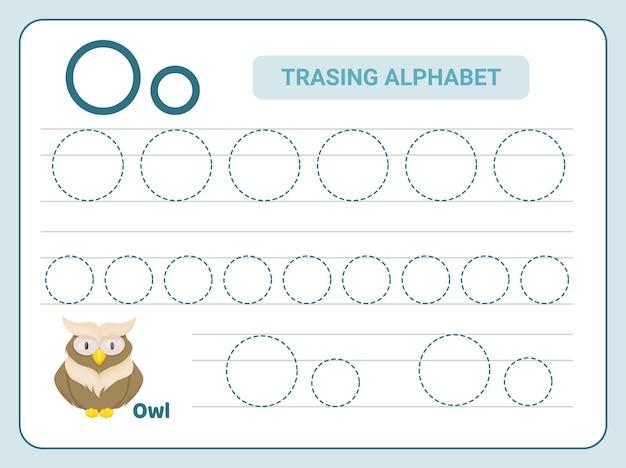 Prática de rastreamento do alfabeto para a planilha de leter o