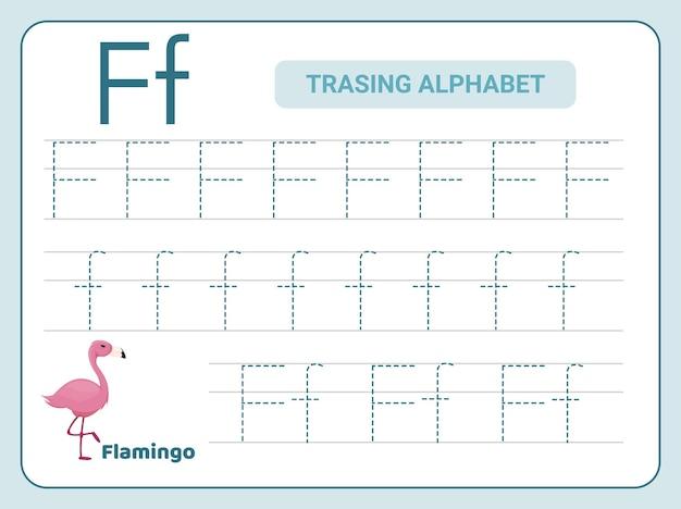 Prática de rastreamento do alfabeto para a planilha leter f