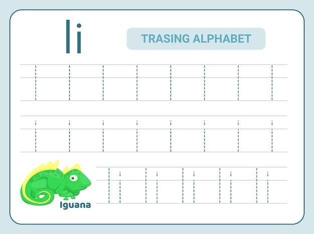 Prática de rastreamento do alfabeto para a planilha leter i
