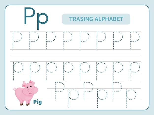 Prática de rastreamento do alfabeto para a planilha leter p