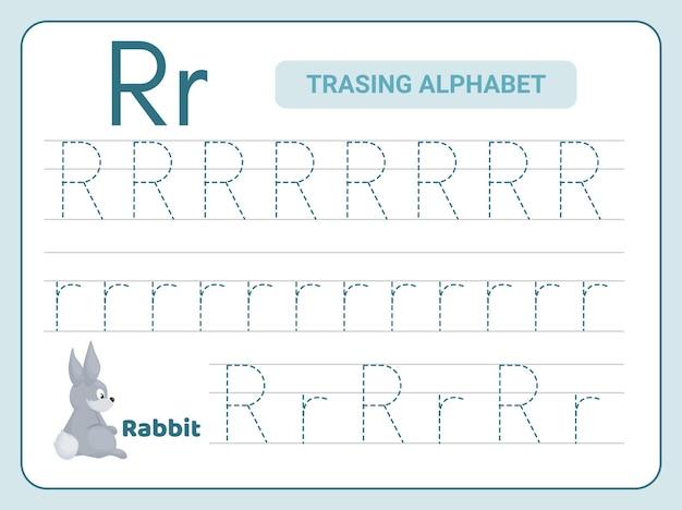 Prática de rastreamento do alfabeto para a planilha leter r