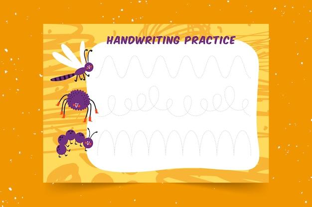 Prática educacional de caligrafia para crianças