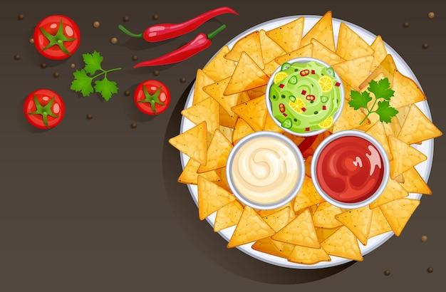 Prato com chips de nacho e molhos em tigelas. ilustração de estilo cartoon de comida mexicana