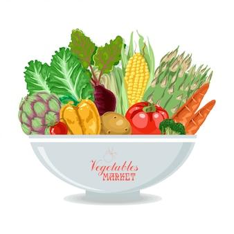 Prato, com, legumes
