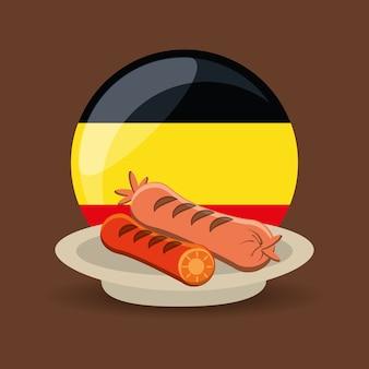 Prato com salsichas sobre a bandeira da alemanha em forma de círculo