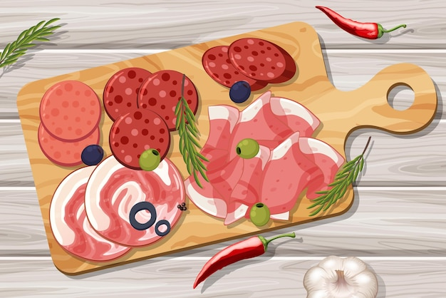 Prato de carnes frias diferentes no fundo da mesa