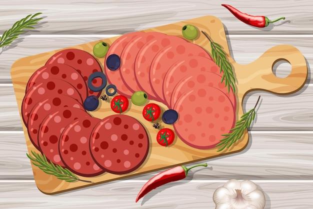 Prato de carnes frias, salame e calabresa no fundo da mesa