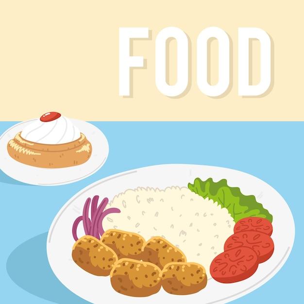 Prato de comida árabe e sobremesa