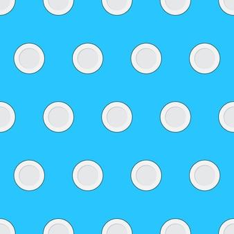 Prato de comida padrão sem emenda em um fundo azul. ilustração em vetor de tema de cozinha