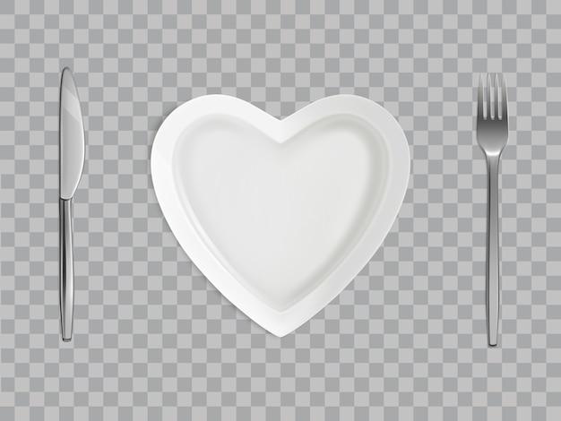 Prato de coração, garfo e faca, configuração de mesa vazia