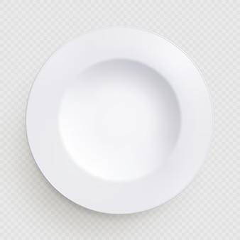 Prato de cozinha branco redondo em fundo transparente. elemento de mesa. prato ou tigela de sopa.
