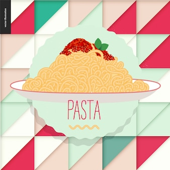 Prato de espaguete de restaurante italiano