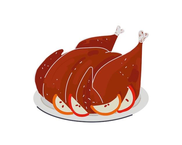 Prato de frango grelhado delicioso cozido no prato de peru ou carne de frango na comida festiva de maçãs