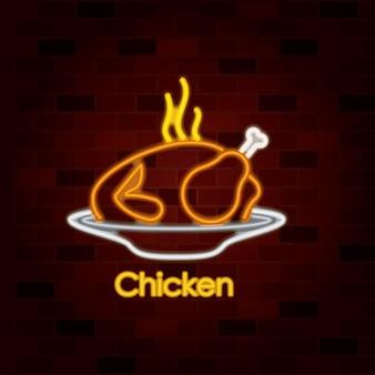 Prato de frango quente no sinal de néon na parede de tijolos