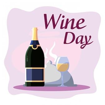 Prato de garrafa e copo de vinho dia