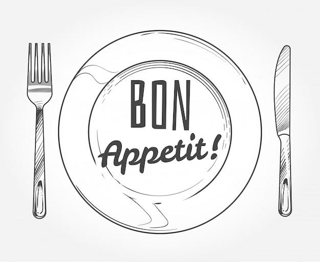 Prato de jantar com garfo e faca. utensílios de mesa e prato do esboço do doodle.