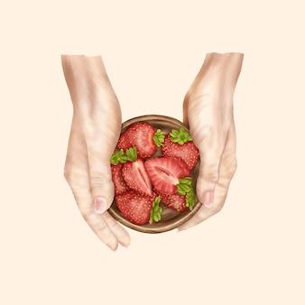 Prato de madeira de verão com morangos nas mãos