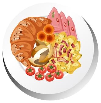 Prato de pequeno-almoço saudável isolado