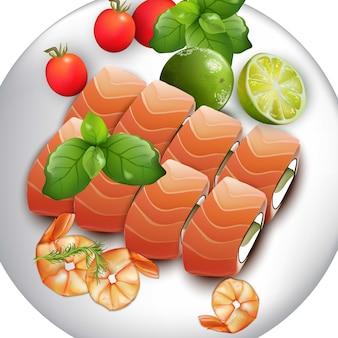 Prato de sushi com salmão e camarão. ilustrações de alimentos vetoriais realistas japoneses
