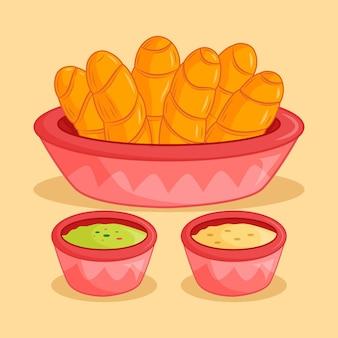 Prato de tequenos desenhado à mão em uma tigela