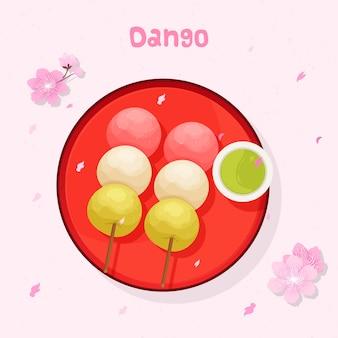 Prato do alimento de dango japão