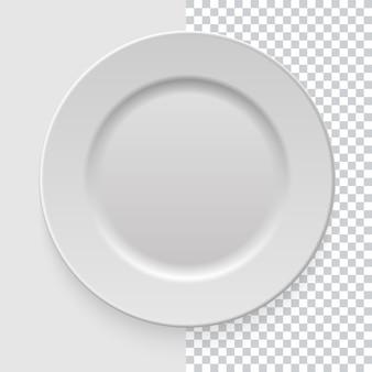 Prato prato vazio branco realista com sombra no fundo transparente. modelo para apresentação de alimentos e seus projetos. vista do topo. utensílios de cozinha utensílios para comer. ilustração.