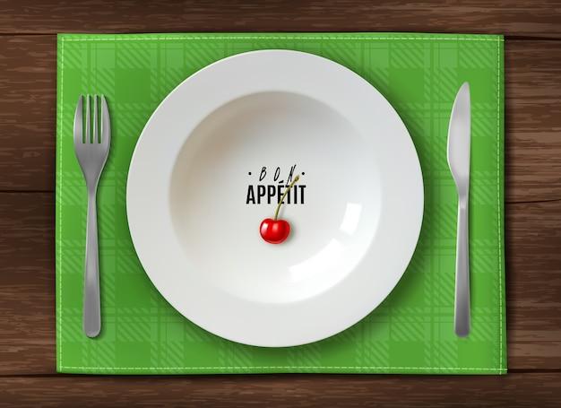 Prato realista servindo prato branco limpo na mesa de madeira
