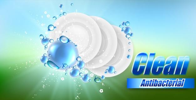 Prato realista sobre fundo colorido bonito e bolhas de sabão, ilustração de lava-louças, modelo de design.