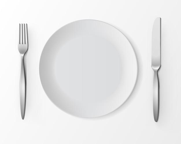 Prato redondo vazio branco de vetor com garfo e faca