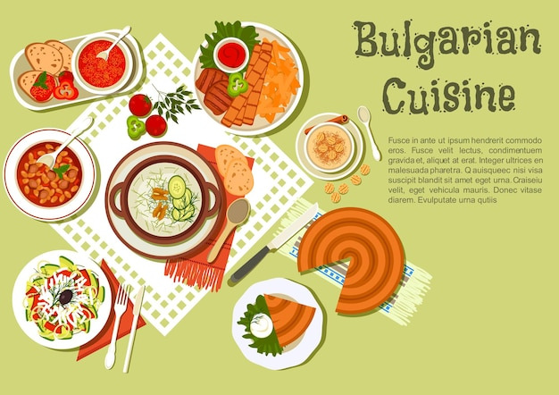 Pratos búlgaros festivos com kebabs servidos com batatas e molho de tomate, tarator de sopa de iogurte com pepino, feijoada, sopa de tomate, torta de banitsa com queijo, sobremesa com pastéis