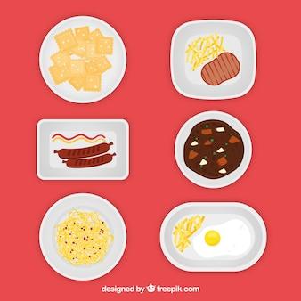 Pratos coleção com comida diferente