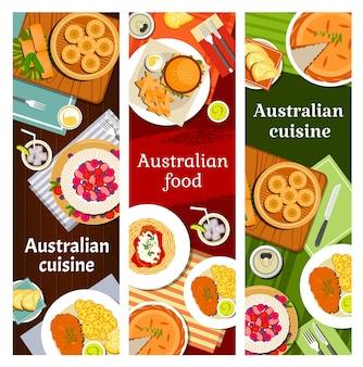 Pratos da culinária australiana no menu
