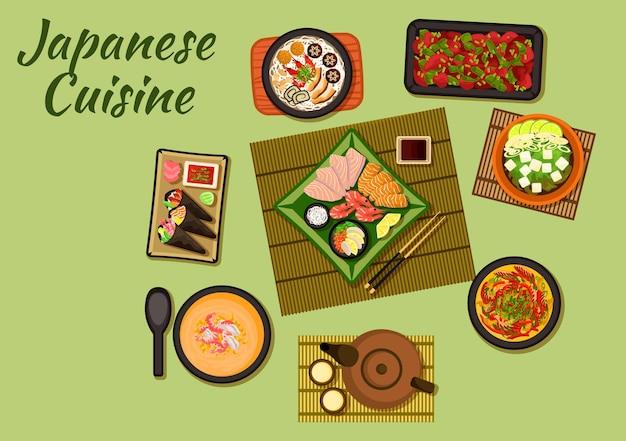 Pratos da culinária japonesa com temaki sushi e sashimi servidos com diversos molhos