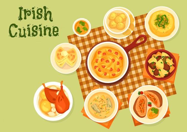 Pratos de batata irlandesa com ilustração de peixe, carne e legumes