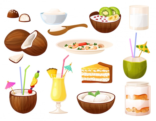 Pratos de coco, conjunto de menu de alimentos e bebidas, cozinha tropical, ilustração