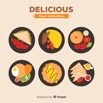 Pratos de comida deliciosa embalar