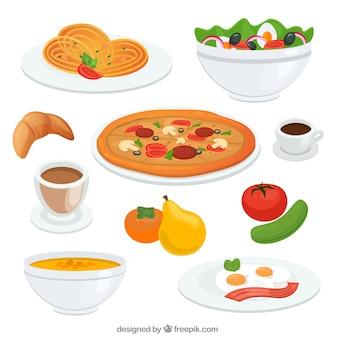 Pratos de comida deliciosa
