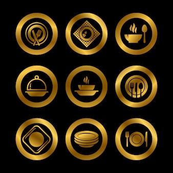 Pratos de cozinha e logotipos de talheres de ouro isolados