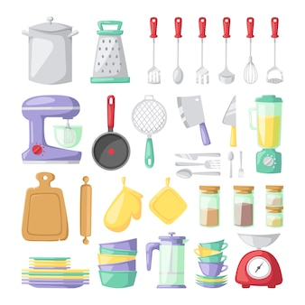 Pratos de cozinha vector elementos planos isolados